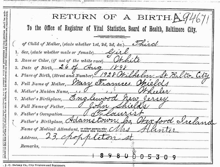 Gibson and Shields Families of Baltimore, MD - Birth