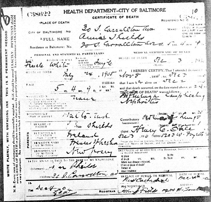 Gibson And Shields Families Of Baltimore Md Death Certificate For